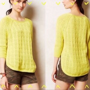 Anthropologie Sparrow yellow knit sweater size XS